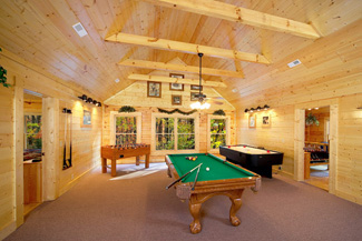 game room at Big Cabins